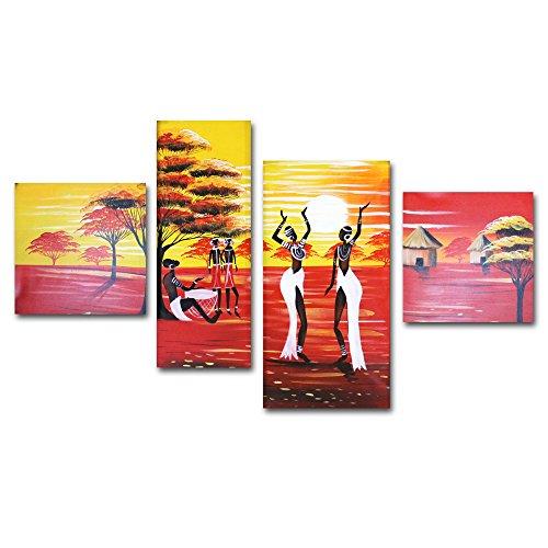 Fokenzary Quadro dipinto a mano a olio, motivo donne africane che danzano al tramonto, su tela allungata e incorniciata, pronto da appendere, Tela, Red, 16x16inx2pcs,12x32in,16x32in
