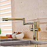 CZOOR Goldene Platte aus massivem Messing Küche Wasserhahn schwenkbarer Auslauf Vessel Sink Mixer tippen Sie auf