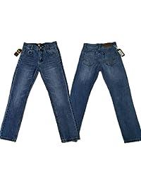 justfound4u Pantalones Vaqueros elásticos Ajustables para niños, Color Negro carbón y Azul desteñido, para niños de 2 a 3 a 4 a 6 a 7 a 9 a 11 12 13 14 15 a 16 años