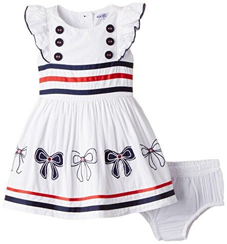 Nauti Nati Baby Girls' Dress (NSS15-109_White and Navy_12 - 18 months)