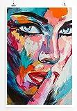 Eau Zone Bilder - Buntes modernes Bild – Frau mit blauen Augen- Leinwand Kunstdrucke Wandbilder aus Deutschland