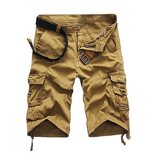 crazyplayer Herren Strand Cargoshorts Cargobermudas Kurze Hose mit mehrere Tasche aus reine Baumwolle Leicht Dünn in Grau Grün Blau