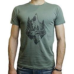Aspis WildWhisperT-Shirt Maglietta Uomo Vintage Cotone 100% bio di Alta qualità | FINANZIA LA Nascita di Nuove FORESTE (Khaki, XL)