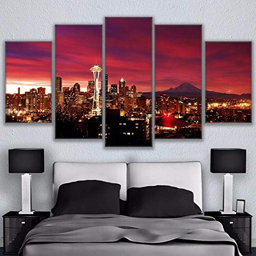 wqavten 5 teilig leinwand Stadtbild-Bild-Rahmen des nächtlichen Himmels Seattle-20x35 20x45 20x55cm-Rahmenlos -