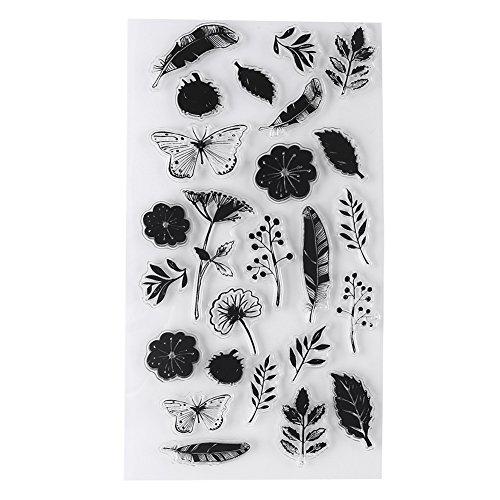 Muster Transparent Silikon PVC Planer Stempel Scrapbooking Karte Tagebuch Album Blume Pflanze Musik Briefmarken(Y19-Schmetterlingsliebe) -