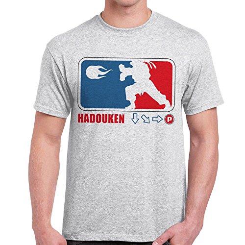 CHEMAGLIETTE! - Maglietta Divertente Vintage Video Games Anni 80 T-Shirt Street Fighter Hadouken, Colore: Cenere, Taglia: XL