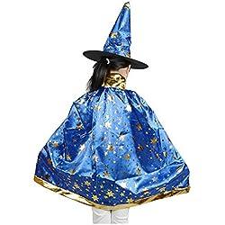 SODIAL(R) Costumes d'Halloween Cape de magicien sorciere avec chapeau pour enfants Garcons Filles bleu