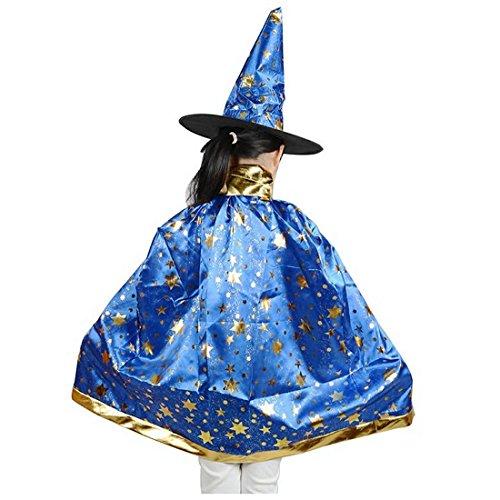 SODIAL(R) Halloween Kostueme Hexe Zauberer Umhang mit Hut fuer Kinder Jungen Maedchen Blau (Zauberer-kostüm Für Jungen)