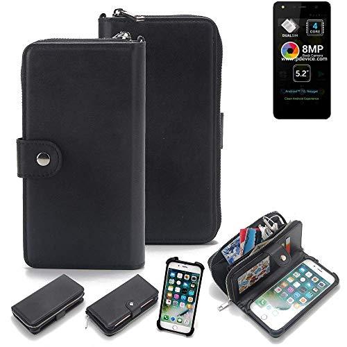 K-S-Trade 2in1 Handyhülle für Allview A9 Lite Schutzhülle & Portemonnee Schutzhülle Tasche Handytasche Case Etui Geldbörse Wallet Bookstyle Hülle schwarz (1x)