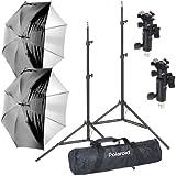 Kit de montage parapluie pour flash numérique de Polaroid Pro Studio, inclut : deux (2) pieds de projecteur robutes à coussin d'air, deux (2) parapluies à face interne en satin blanc avec housse noire amovible, deux (2) adaptateurs parapluie, un (1) sac pro de luxe