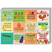 Creanoso Fruit and Vegetables Funny Jokes Stickers for Kids (10-Sheet) - Awesome Stocking Stuffers Gifts for Boys & Girls, Children, Teens - Wall Table Surface Décor Decal - Funny Gift Sticker Cards