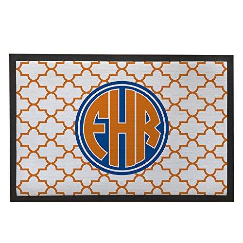 Felpudos Elegantes Quatrefoil Felpudo naranja personalizado alfombra a