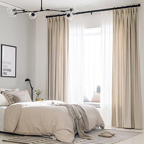Dicken einfarbigen vorhängen,Aussetzzeit vorhänge thermisch isolierte tülle schlafzimmer vorhänge mit 1 krawatte rücken 52x96in-A 52*96inch (Weißes Leinen Vorhänge 96)