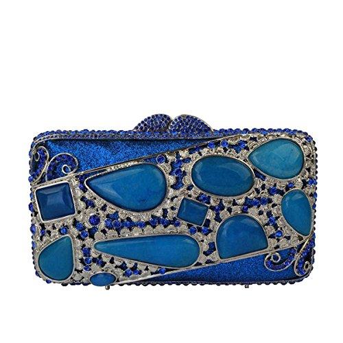 Pack Hand Abendtasche Bankett Frauen Blue Diamant Kupplungs qw8ZxOg
