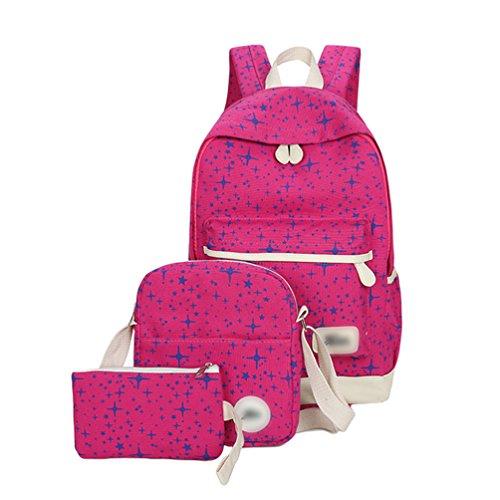 07affe42e8e86 Sentao Retro Schulrucksack Canvas Mädchen Damen Schul Rucksack Set  Schulranzen + Schultertasche   Messenger Bag