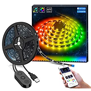 Govee DreamColour LED TV Backlight, USB Powered Bias Lighting with Music Sync, 2M Multi-Colour Waterproof LED Strip Light APP Controlled for HDTV, PC Monitors