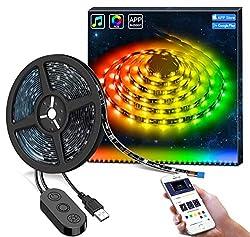 MINGER DreamColor LED Streifen Led band, 2M USB led Strip mit eingebautem IC, wasserdichte LED Lichterkette mit APP Sync mit Musik, 5050 flexibler LED Schlauch TV Hintergrundbeleuchtung für Deko Party