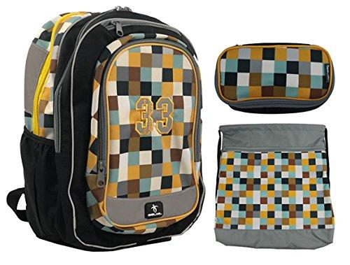 Schultaschen-Freiziet Set/Rucksack für Jungen/Mädchen - sehr leicht, ergonomisch, wasserfest, top Verarbeitung. Inkl. Schüleretui und Turnbeutel (Schwarz/Grau/Ocker)