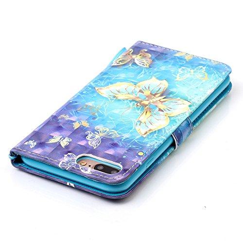 iPhone 8 Plus Hülle, STENES Glitzer Stilvoll Serie Kartenfach Standfunktion Magnet Ledertasche Wallet TPU Stoßfänger Schutzhülle für iPhone 7 Plus / iPhone 8 Plus - Traumfänger / Blau Hübscher Schmetterling / Blau
