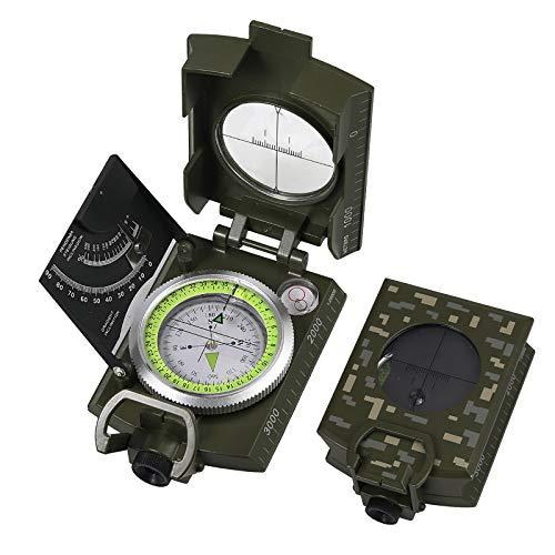 Proster Bussola Precisa Esercito Militare con Clinometro Metallo Disegno Luce Fluorescente con Borsa per Campeggio Caccia