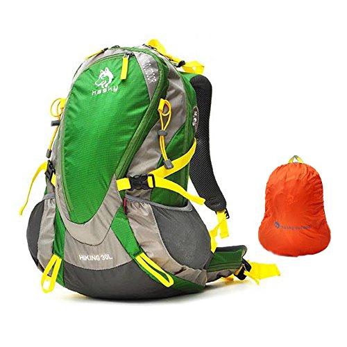 Preisvergleich Produktbild Jungleking große Kapazität 30 L Wasserdichte Wanderrucksäcke Reiserucksack Damen Herren Daypack für Outdoor Sport,  Camping und Reisen (Grün)