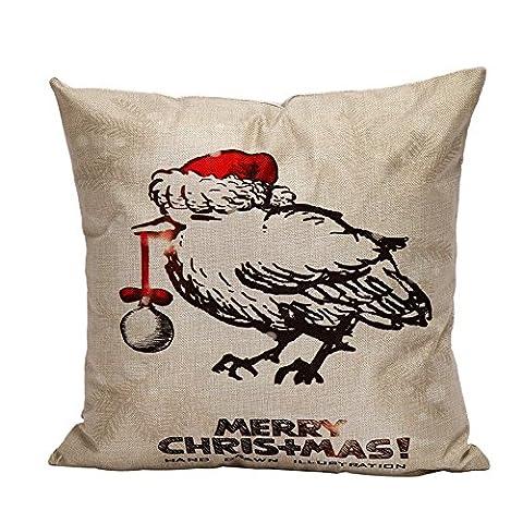 omiky® 1couverture en lin mélange de Noël taie d'oreiller housse, Mélange lin, Christmas Bird, 18
