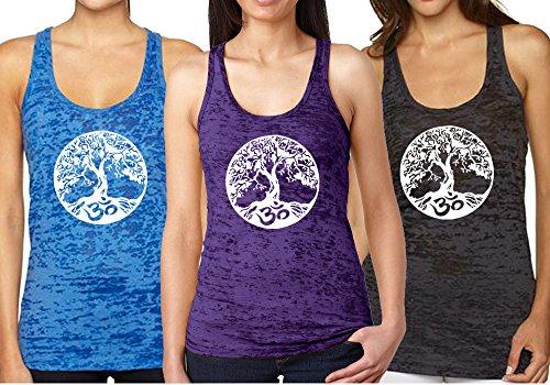 Epic MMA Gear - Camiseta de Tirantes para Yoga, árbol de la Vida & AUM, Ohm, símbolo Quemado de Espalda Cruzada - - X-Small