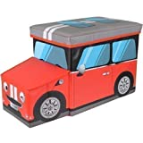 NEW KIDS CHILDRENS CAR SHAPED FOLDING STORAGE TOY BOX CHEST TRUNK SEAT STOOL FURNITURE CHILDREN ROOM TOYS TIDY - RED