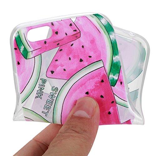 BONROY ® Apple iPhone 6 Plus (5,5 Zoll(14 cm) Silikon TPU Schutzhülle,Apple iPhone 6 Plus (5,5 Zoll(14 cm) Handy Cover Schutzhülle Handyhülle TPU Case Helle Schale Painted Gemalt Durchsichtig Transpar Watermelon Scheiben