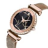 ADAH Moda señoras Reloj imán Reloj de Cuarzo muñeca Estrella Impermeable imán de Malla de Banda para Chica/Impermeable Relojes Femeninos,Gold