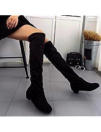 d3da65e06954 Flache Stiefel für Damen, cinnamou Winter Herbst Über den Knien Lange  Stiefel - Hohe Leg
