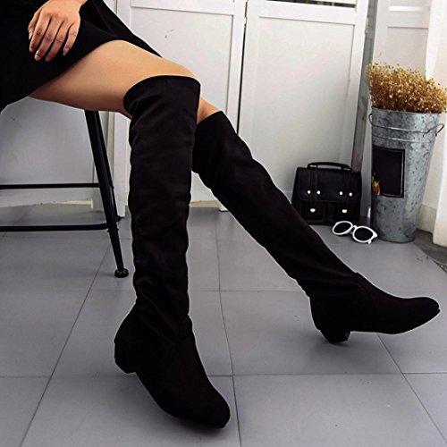 Flache Stiefel für Damen, cinnamou Winter Herbst Über den Knien Lange Stiefel - Hohe Leg Suede Kurze lange Stiefel (39, Schwarz) (Socken Farbton Damen)