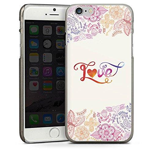 Apple iPhone 4 Housse Étui Silicone Coque Protection Amour Phrases Papillon fleurs CasDur anthracite clair