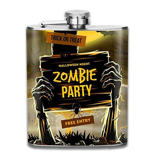 Glaskolben-Halloween-Einladung zur Zombie-Partei-Edelstahl-7-Unzen-Flachmann, groß für die Reise-Kreuzfahrt, die Bootfahrt wandert