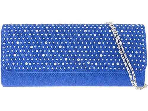 Girly HandBags Satin Gewebt Clutch Tasche Diamanten Königsblau