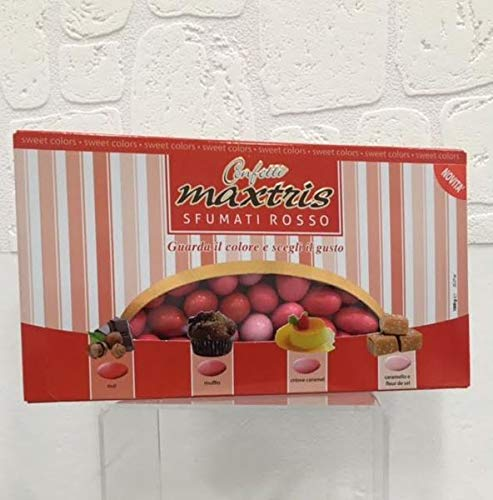 Maxtris | confetti italiani di mandorla | sfumato rosso 4 gusti | 1 kg