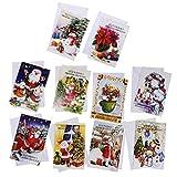Baoblaze 10x Klappbare Grußkarten Glückwunschkarten Einladungskarten Geschenkkarten mit Weihnachten Design