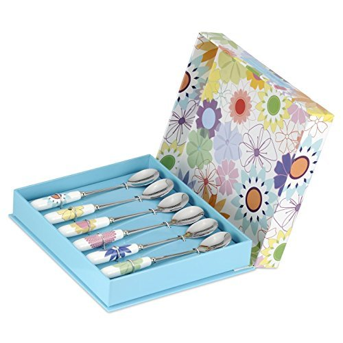 Crazy Daisy Tea Spoon, Stainless Steel, Multi-Colour, Set of 6 by Crazy Daisy -