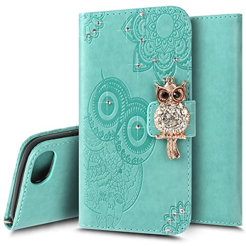 Coque Etui pour iPhone 7 Plus/iPhone 8 Plus,iPhone 7 Plus/iPhone 8 Plus Coque Hibou Motif Portefeuille PU Cuir Etui Housse,Ukayfe Etui de Protection en Cuir Bling Bling Glitter Sparkle Diamant Strass  Hibou-Vert