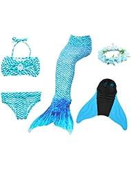 Superstar88 Mädchen Cosplay Kostüm Badebekleidung Meerjungfrau Shell Badeanzug 3pcs Bikini Sets mit einer Flosse und einer Kränze Tolle Geschenksidee !