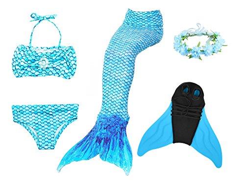 Superstar88 Mädchen Cosplay Kostüm Badebekleidung Meerjungfrau Shell Badeanzug 3pcs Bikini Sets mit einer Flosse und einer Kränze Tolle Geschenksidee ! (130, ARCTIC BLUE) (Böden Badeanzug Blauen)