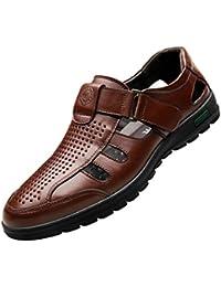 0060b17907ac Chaussures D été pour Hommes Chaussures de Plein Air Pêcheur Sandales Peau  de Vache Velcro