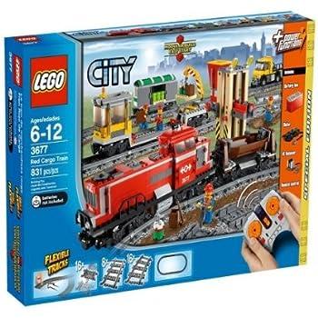 lego city 3677 jeu de construction le train de marchandises rouge lego city. Black Bedroom Furniture Sets. Home Design Ideas