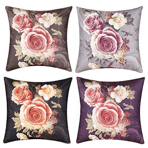 sen Kissenbezüge Fall Abdeckung Kissenbezug für Haus Sofa Auto Büro Deko 45 x 45cm 4er Set (Pfingstrose Blumen) ()