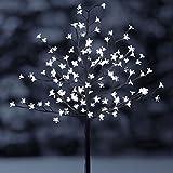 Solar Lichterbaum mit 128 LEDs - Kirschblüten Baum kaltweiß -