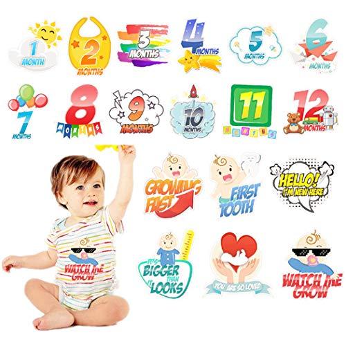 Justdolife 18PCS Monat Aufkleber Kreative Meilenstein Aufkleber Onesie Aufkleber Für Baby Junge (Aufkleber Monat Onesies)