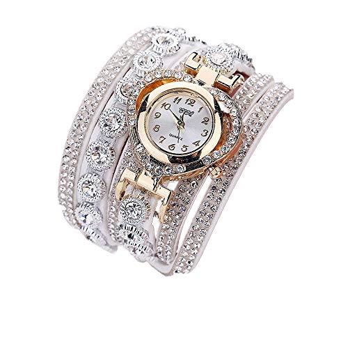 Strass Armband für Weibliche Chenang Frauen-Weinlese-Rhinestone-Kristallarmband-Vorwahlknopf-analoge Quarz-Armbanduhr Frauen Mädchen Damen koreanische SAMT Liebe Diamant (Weiß)