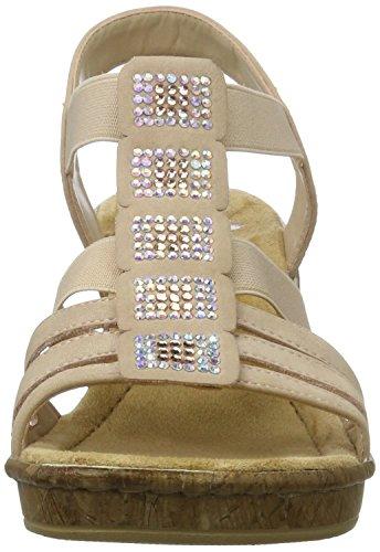 Rieker Damen 69761 Offene Sandalen mit Keilabsatz Mehrfarbig (altrosa / 31)