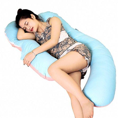 Oreiller de maternité, OUTAD coussin de grossesse a la forme d'un U et par sa fermeture éclaire, est détachable - Le prouduit de coton soutient complétement le corpsétement le corps