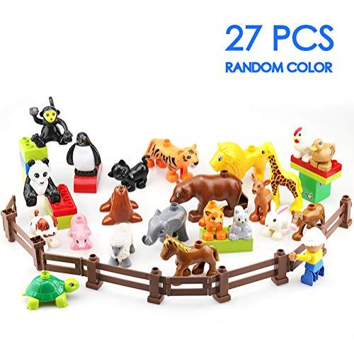 MORETRY Zoo Tiere Bauernhof Bausteine Zubehör Spielzeug Set für Kinder kompatibel mit Duplo EIN Weihnachten Geschenktasche, 27 Stück